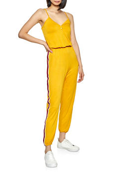 Striped Tape Jumpsuit - 1045054261787