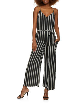 Multi Stripe Cami Jumpsuit - BLACK - 1045054262975