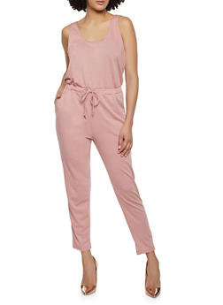 French Terry Lined Drawstring Waist Jumpsuit - 1045054263450