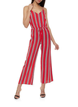 Multi Stripe Crepe Knit Wide Leg Jumpsuit - 1045054263747