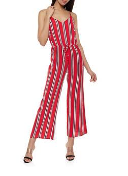Multi Stripe Crepe Knit Wide Leg Jumpsuit - 1045054263747