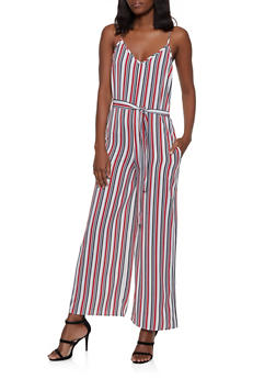 Striped Crepe Knit Tie Waist Jumpsuit - 1045054263975