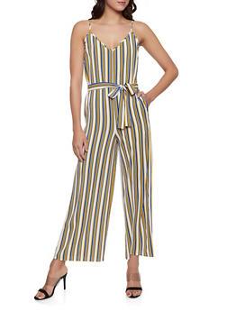 25d2613fc3f Striped Crepe Knit Tie Waist Jumpsuit - 1045054263975