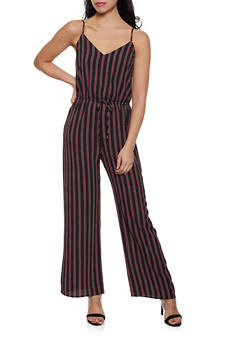 Striped Crepe Knit Cami Jumpsuit - 1045054264747