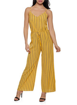 Striped Crepe Knit Cami Jumpsuit - 1045054264747
