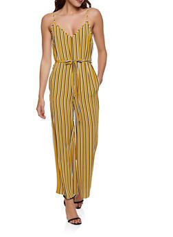 Sleeveless Striped Wide Leg Jumpsuit - 1045054264975