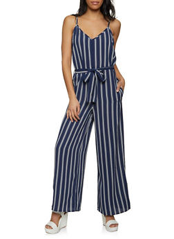 Striped Crepe Knit Tie Waist Jumpsuit - 1045054265975