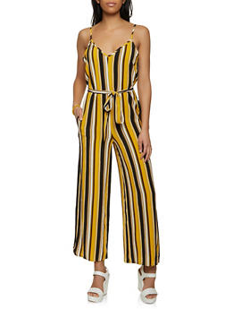 Striped Crepe Knit Jumpsuit - 1045054266975