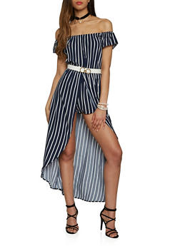 Striped Off the Shoulder Maxi Romper - 1045054267830