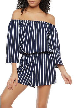 Striped Off the Shoulder Romper - 1045054268452
