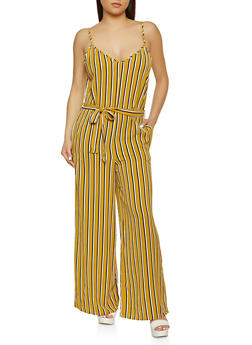 Striped Wide Leg Jumpsuit - 1045054268975
