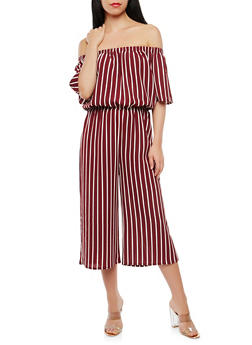 Striped Off the Shoulder Jumpsuit - 1045054268999