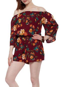 Floral Off the Shoulder Romper - 1045054269368