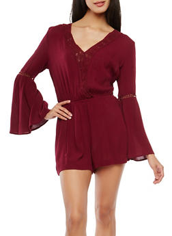 Gauze Knit Crochet Insert Bell Sleeve Romper - 1045054269905