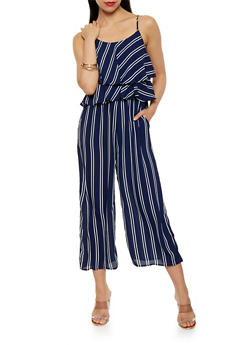 Striped Capri Jumpsuit - 1045058750038