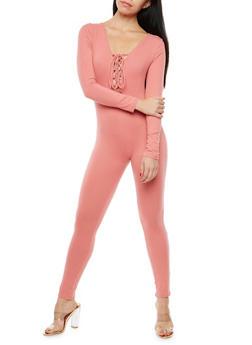 Soft Knit Lace Up Catsuit - 1045058752596
