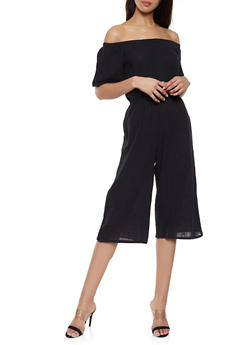 Linen Cropped Off the Shoulder Jumpsuit - 1045058752802