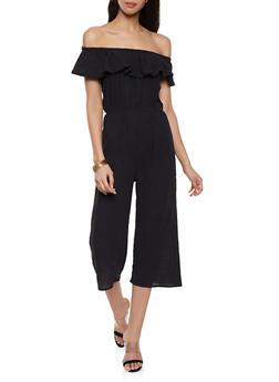 Linen Off the Shoulder Jumpsuit - 1045058752803