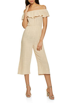Linen Off the Shoulder Jumpsuit - 1045058752803