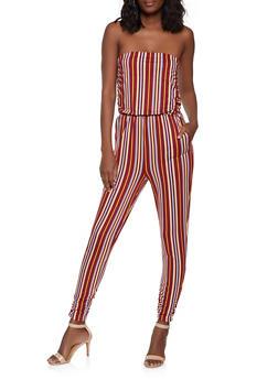 Striped Soft Knit Jumpsuit - 1045058753372