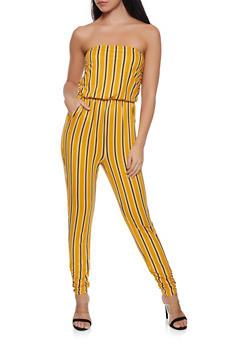 96c24325915c Striped Ruched Leg Jumpsuit - 1045058753373
