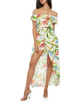 Off the Shoulder Tropical Floral Maxi Romper - 1045058753488
