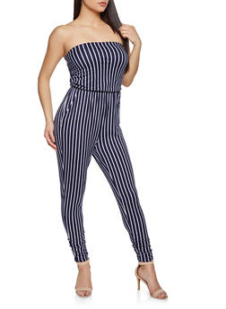 Striped Strapless Jumpsuit - 1045058754031