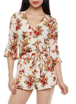 Floral Bell Sleeve Belted Romper - 1045069397082