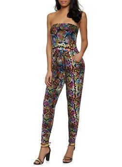 Snake Print Tube Jumpsuit - 1045073375702