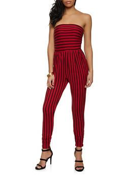 Two Pocket Striped Tube Jumpsuit - 1045073375712