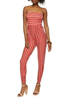 Striped Strapless Soft Knit Jumpsuit - 1045073375732