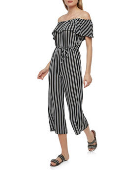 Striped Off the Shoulder Jumpsuit - 1045074012022