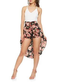 Floral Crepe Knit High Low Romper - 1045074012029