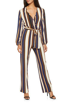 Striped Faux Wrap Jumpsuit - 1045074280532