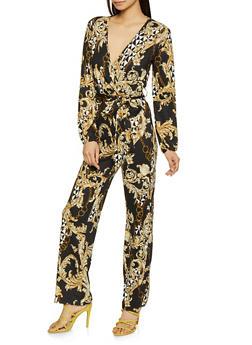 Printed Faux Wrap Jumpsuit - 1045074280533