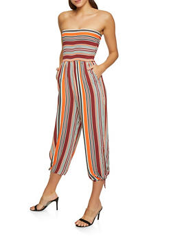 Striped Tie Hem Tube Jumpsuit - 1045075170021