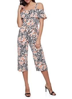 Printed Crepe Knit Tie Waist Jumpsuit - 1045075170050