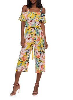 7586f827a709 Floral Ruffled Off the Shoulder Crepe Jumpsuit - 1045075170150