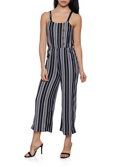 Striped Soft Knit Palazzo Jumpsuit - 1045075171012