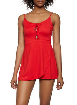 Solid Knot Front Keyhole Overlay Romper - 1045075171028