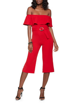 Ruffled Off the Shoulder Jumpsuit - 1045075171042