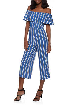 Ruffled Off the Shoulder Striped Jumpsuit - 1045075171053