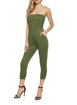 Solid Ruched Leg Tube Jumpsuit - 1045075171058