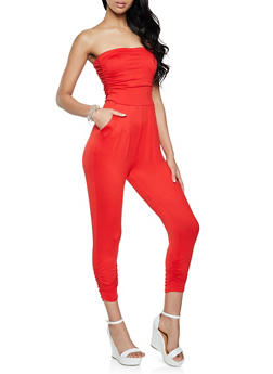 Solid Ruched Tube Jumpsuit - 1045075172058