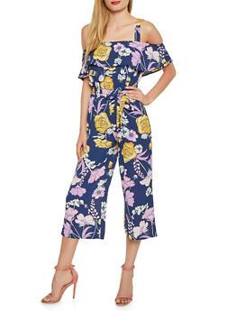 Floral Off the Shoulder Crepe Knit Jumpsuit - 1045075172150