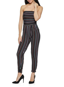 Striped Ruched Tube Jumpsuit - 1045075173037