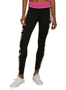 Soft Knit Printed Side Detail Leggings - 1056001440091