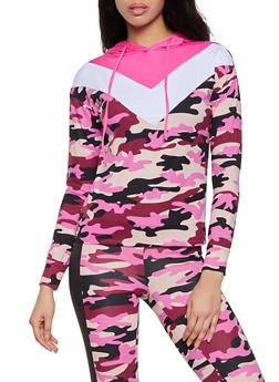 Color Block Printed Hooded Top - 1056001440100