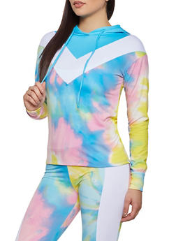 Color Block Printed Hooded Top - 1056001440100