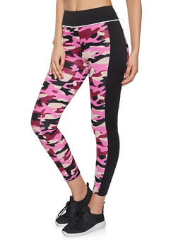 Color Block Printed Leggings - 1056001440101